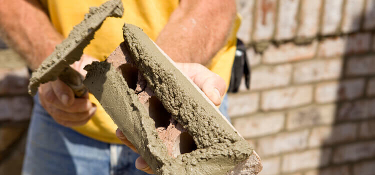 masonry worker trowel
