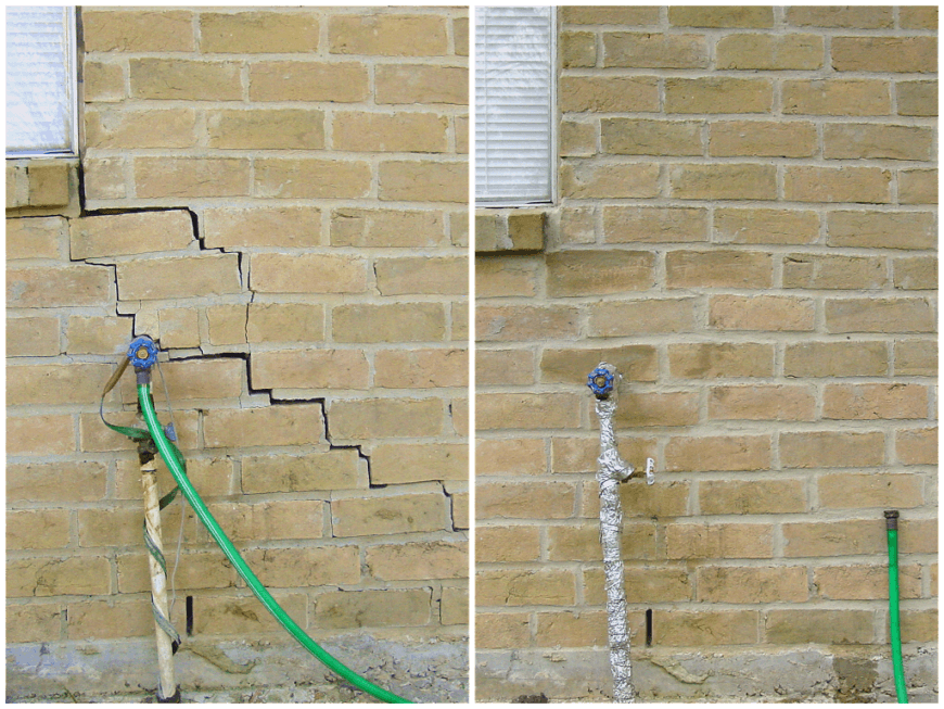 cracked brick wall repair