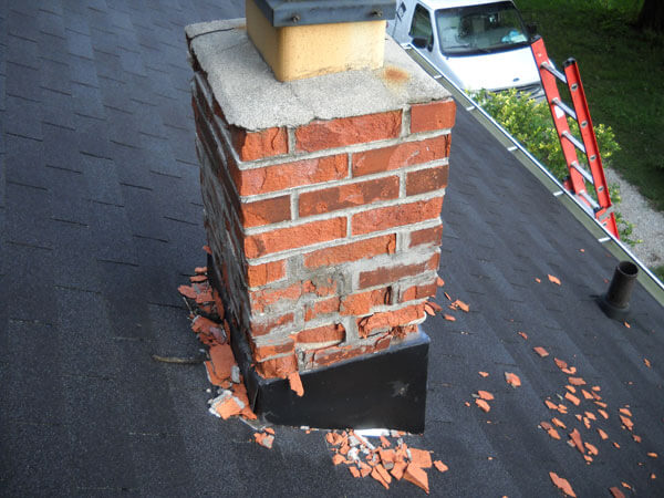 crumbling brick chimney